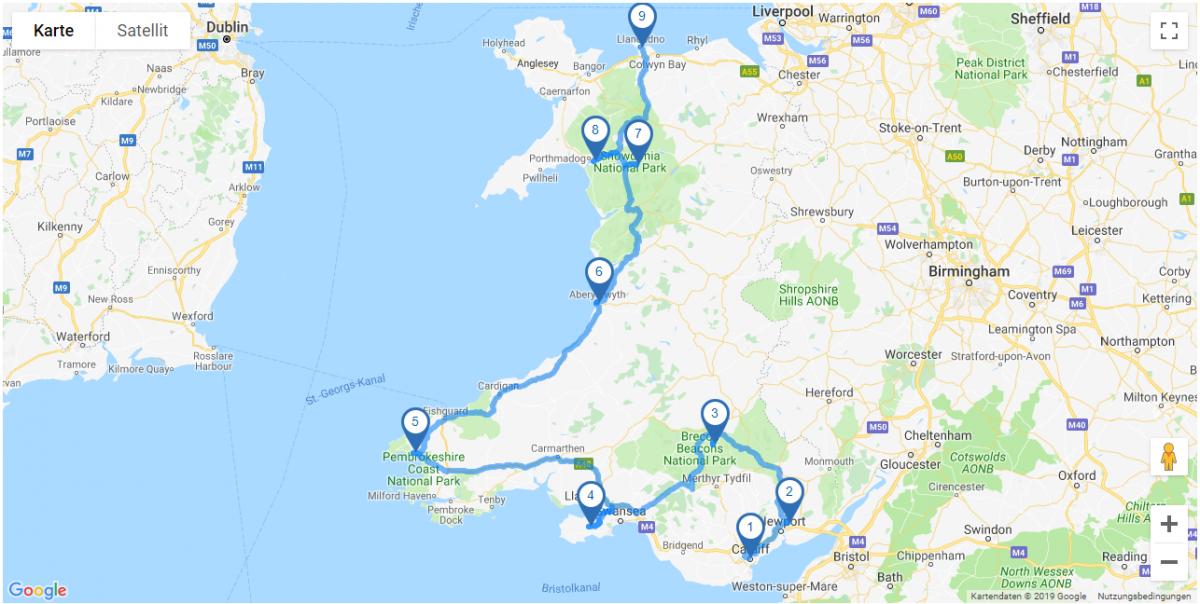 Map Rundreise Wales I