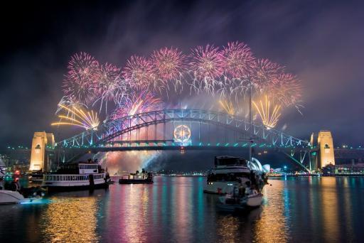 Australien-Sydney- Harbour Bridge-Silvester-Feuerwerk